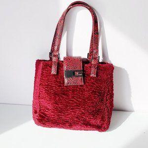 red fuzzy faux lambsfur guess purse